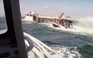 Swamped boat before it capsized